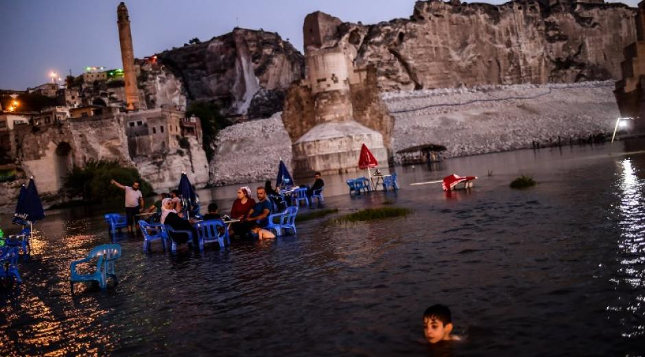 Photo du site turc d'Hasankeyf inondé.