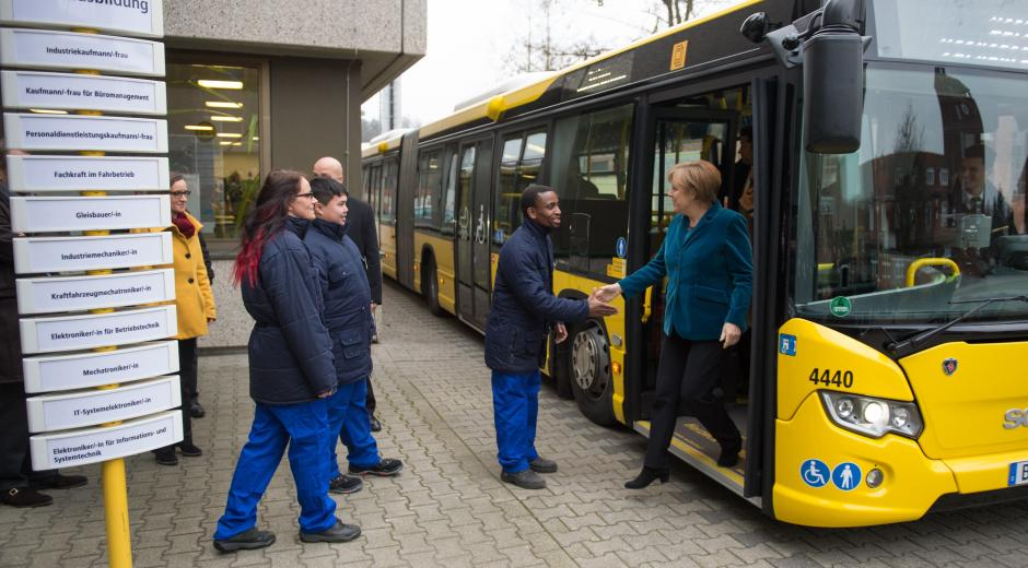 German Chancellor Angela Merkel (right on the photo) has considered in February 2018 the free public transit system to encourage their use.