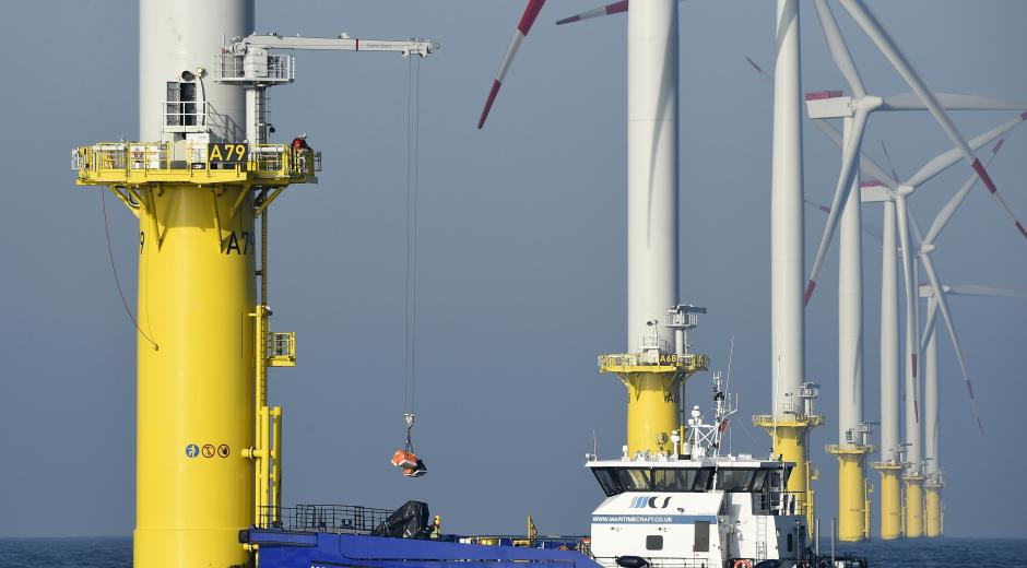 A maintenance operation on the Amrumbank West wind farm, near Helgoland Island, in the North Sea