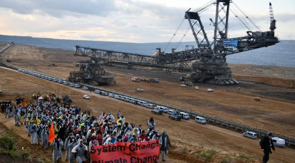 A demonstration at the Hambach lignite extraction site near Elsdorf, west of Cologne.