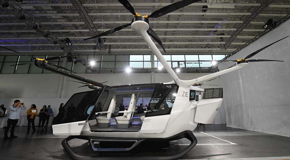 A prototype of an unmanned, vertical take-off flying taxi powered by electric motors