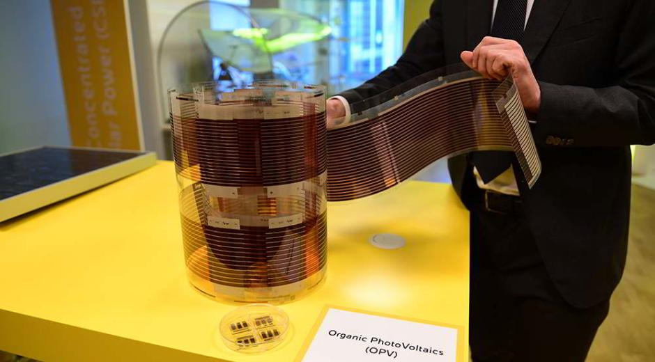 A plate of flexible organic photovoltaic cells