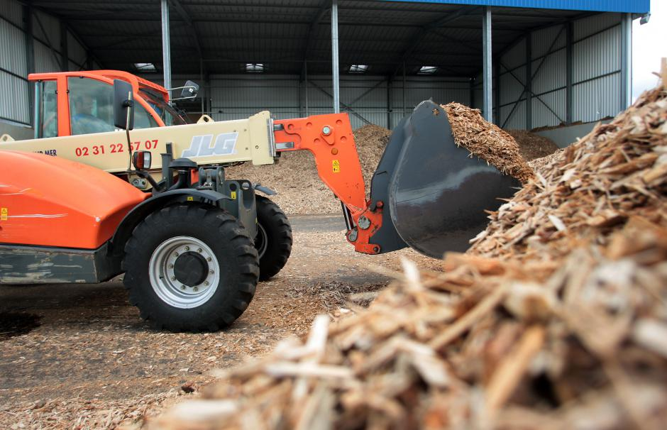 Branches shredded in the forest are transported directly to wood-fired power plants.