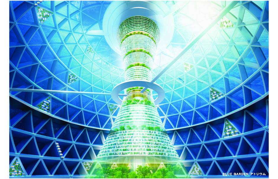 An artist's impression of a spiral-shaped underwater city conceived by a Japanese construction firm.