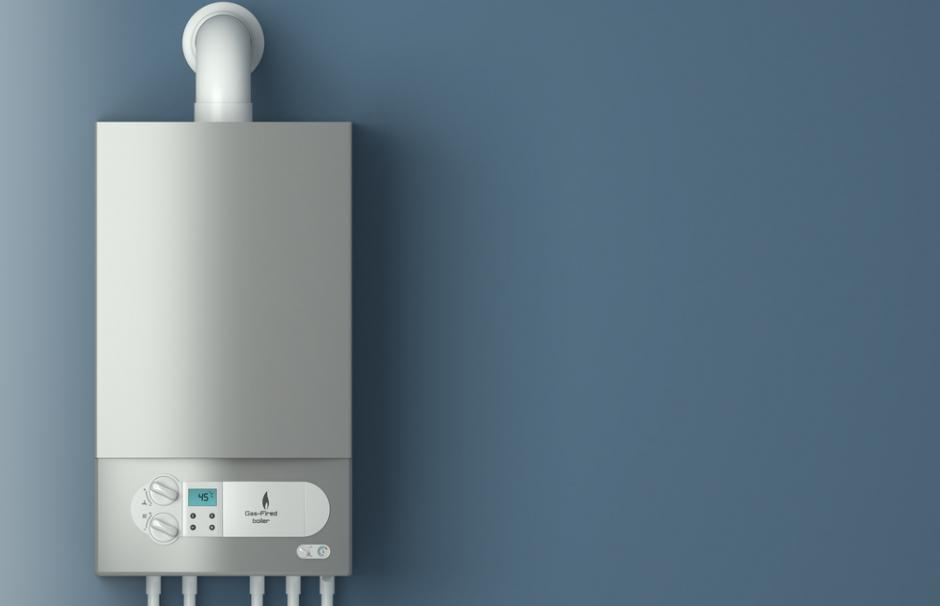 Image of a gas boiler used for home heating and hot water production.