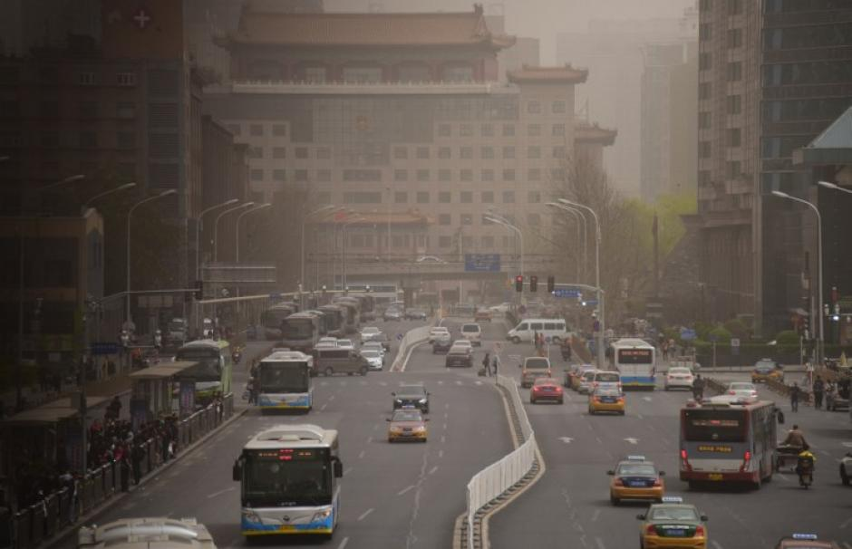 Photo taken in Beijing in March 2018, on a day of record pollution.