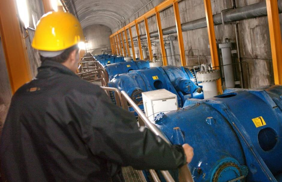 Turbines in the Grand'Maison hydropower plant in the French Alps. Its two water reservoirs together form a pumped-storage power system.