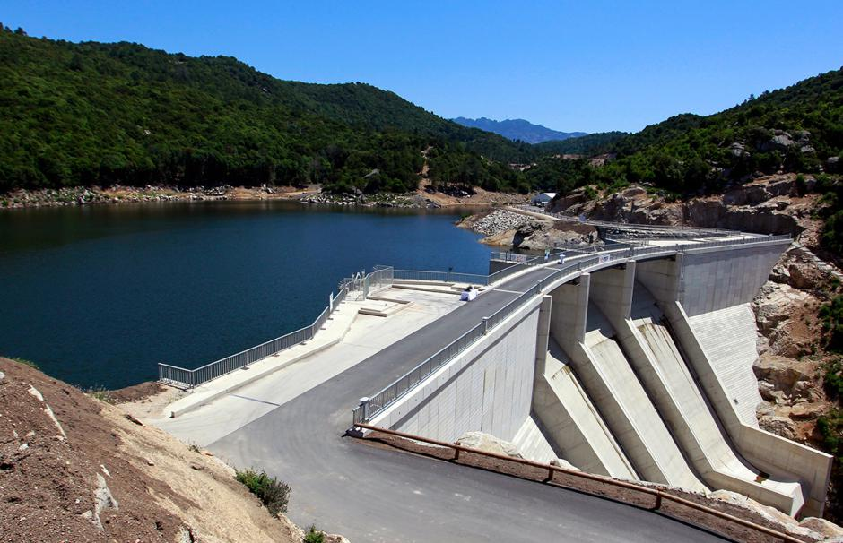The dam at the Rizzanese hydropower plant near Sainte-Lucie-de-Tallano in Corsica