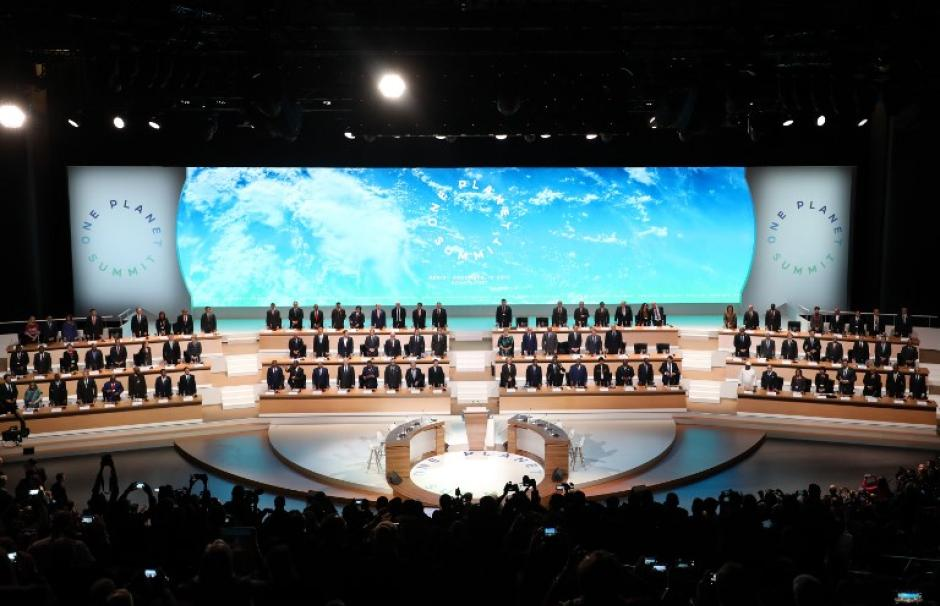 """Image of the so-called """"One Planet Summit"""" conference, held in Paris in December 2017, with 50 world leaders."""