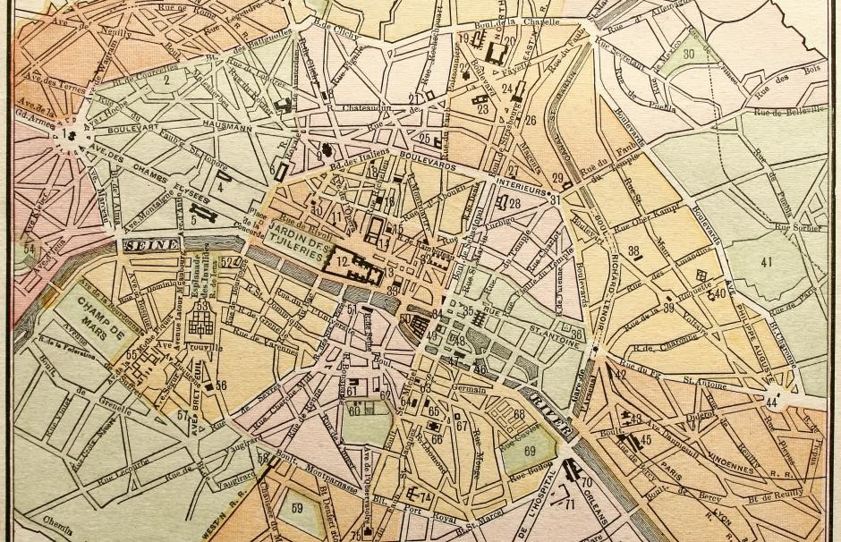 Image of a map of Paris at the end of the 19th century.