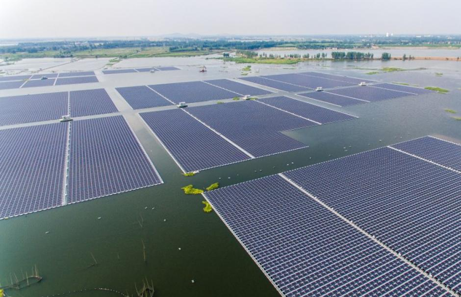The world's largest floating solar photovoltaic farm, in Huainan, China