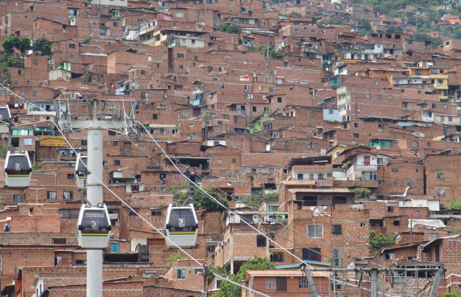 View from the Medellín cable car over deprived neighborhoods in Colombia