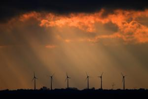 Wind turbines in Bremerhaven, in the large producing region of northern Germany.