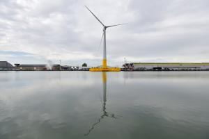 Photo of Floatgen, the French floating wind turbine prototype, inaugurated in October 2017 in the port of Saint-Nazaire, before being towed offshore.