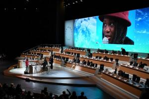 Photo of the One Planet Summit, held in Paris in December 2017 to give fresh impetus to international action against global warming.