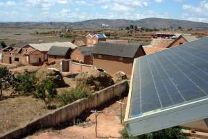 Photo of a solar photovoltaic unit in a village in Madagascar.