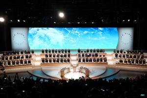 "Image of the so-called ""One Planet Summit"" conference, held in Paris in December 2017, with 50 world leaders."