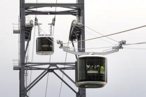 Photo of the two cabins of the cable car in Brest (Brittany, France), the city's new public transportation line launched on November 19, 2016.