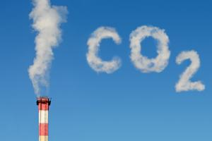 Photo montage symbolizing carbon dioxide emissions into the atmosphere